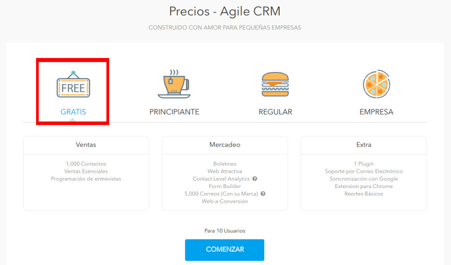 Plan gratuit Agile CRM